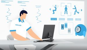 Physiotherapist with software for rehabilitation programs
