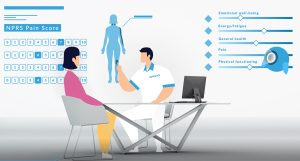 physiotherapy consultation with software to show patient rehabilitation outcomes and recovery